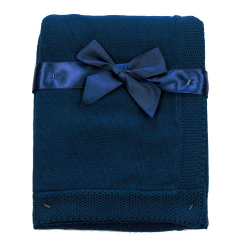 Fifth Avenue Tots Cable Knit Blanket - Navy