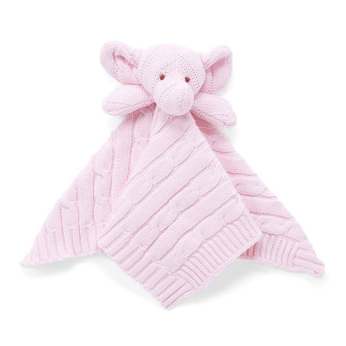 Baby Mode Signature Elephant Knit Security Blanket - Pink
