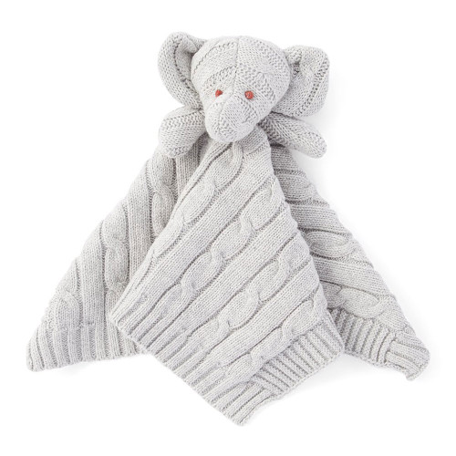 Baby Mode Signature Elephant Knit Security Blanket - Grey
