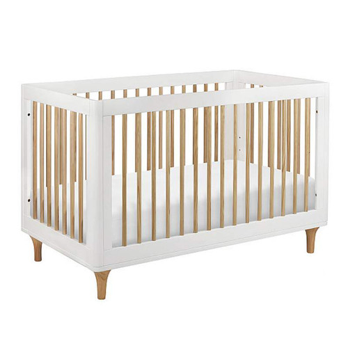 Babyletto Lolly 3-in-1 Convertible Crib with Toddler Bed Conversion Kit - White & Washed Natural