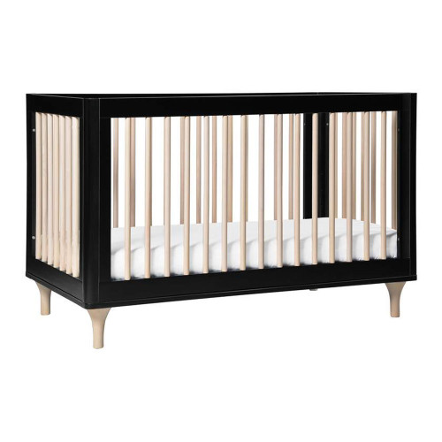 Babyletto Lolly 3-in-1 Convertible Crib with Toddler Bed Conversion Kit - Black & Washed Natural