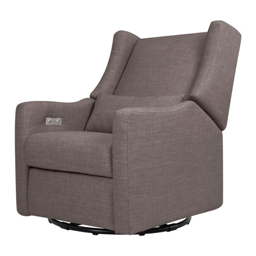 Babyletto Kiwi Electronic Recliner and Swivel Glider with USB Port - Grey Tweed