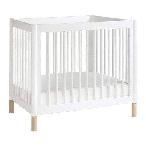 Gelato 2-in-1 Mini Crib - White with Washed Natural Feet