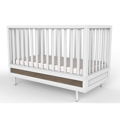 Babyletto Eero 4-in-1 Convertible Crib - White and Natural Walnut