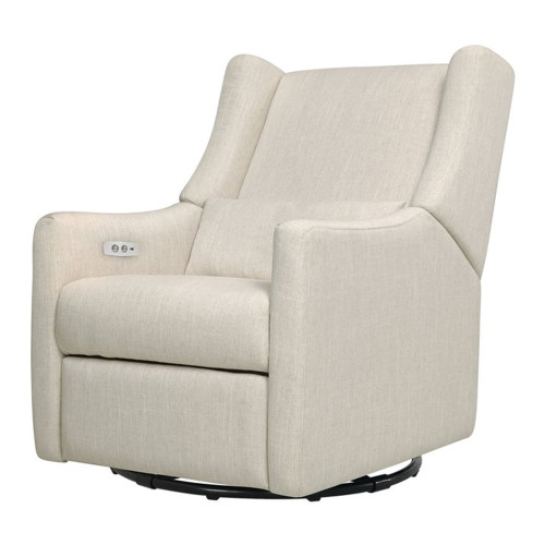 Babyletto Kiwi Electronic Recliner and Swivel Glider with USB Port - White Linen
