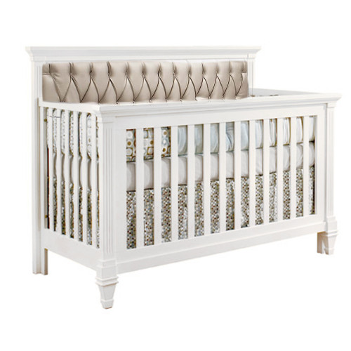 Natart Belmont 5-in-1 Convertible Crib with Diamond Tufted Upholstered Panel - White with Platinum Panel