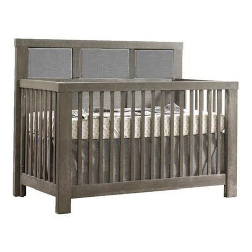 Natart Rustico 5-in-1 Convertible Crib - Owl Grey with Fog Linen Panel