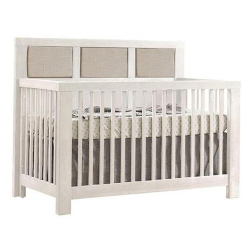 Natart Rustico 5-in-1 Convertible Crib - White with Talc Linen Panel