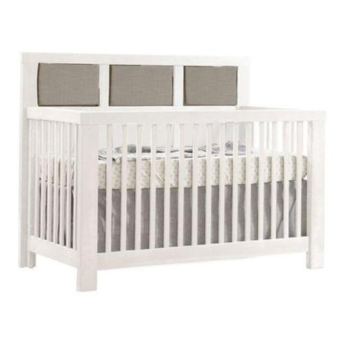 Natart Rustico 5-in-1 Convertible Crib - White with Fog Linen Panel