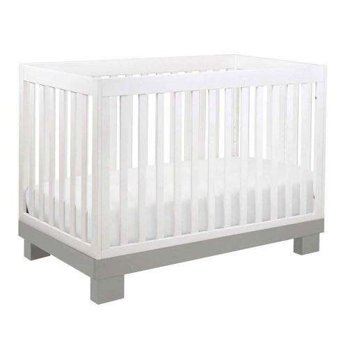 Babyletto Modo 3-in-1 Convertible Crib with Toddler Bed Conversion Kit - Grey & White