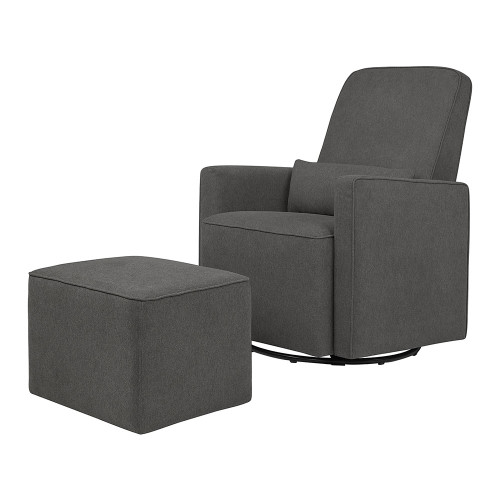 DaVinci Olive Swivel Glider with Ottoman - Dark Grey with Dark Grey Piping
