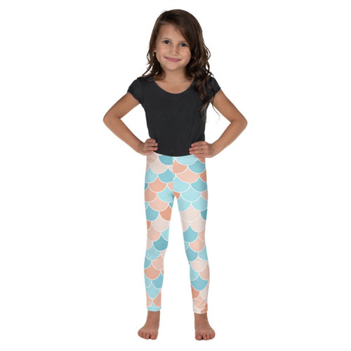 Kid's Leggings - Blue/Coral