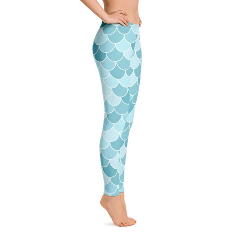 Fish Scale Leggings - Blue/light blue