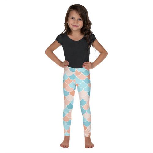 Kid's Leggings - Blue/Coral