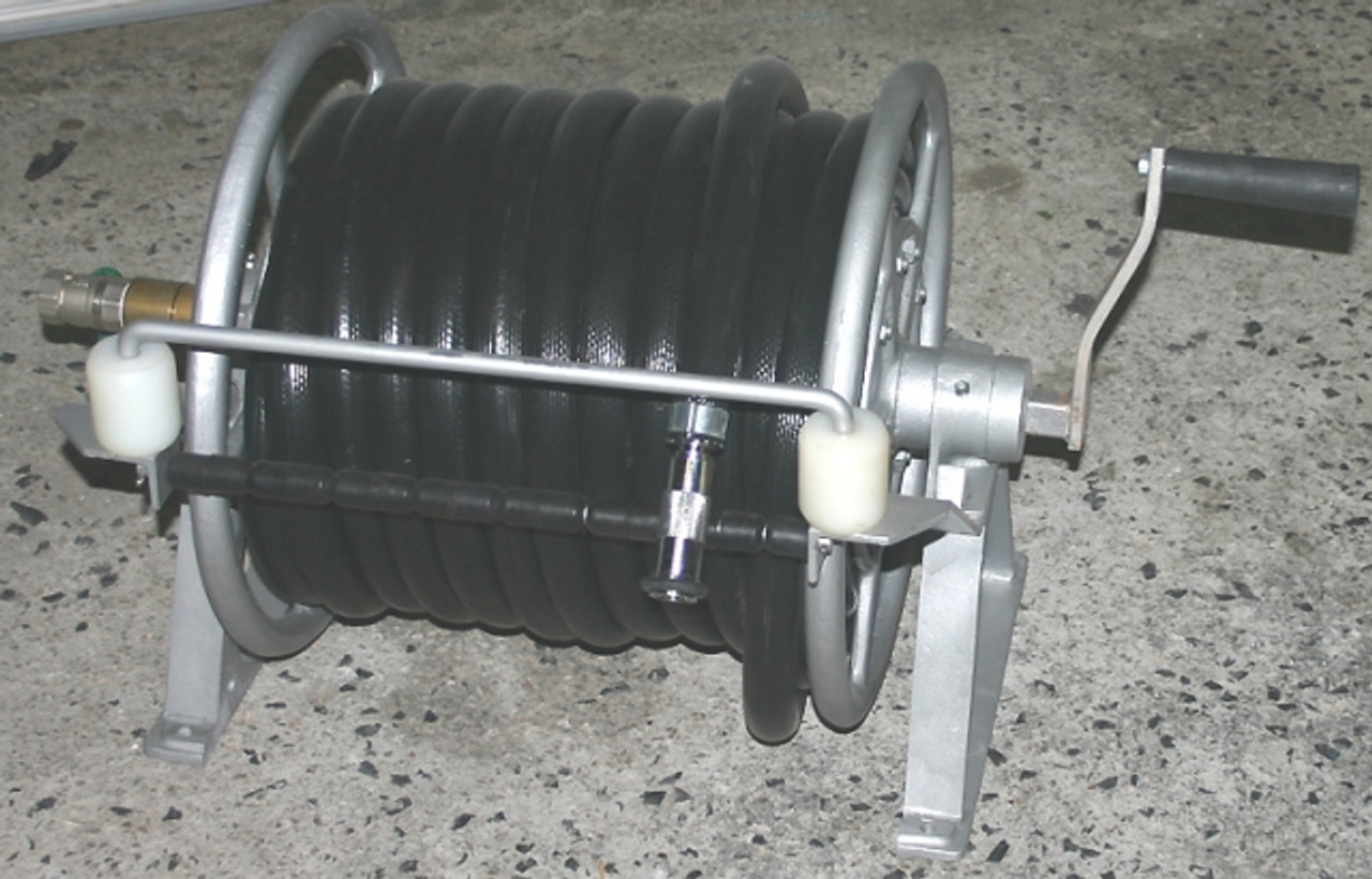 Aluminium Hose Reel with 30m of 25mm Fire Hose and metal nozzle