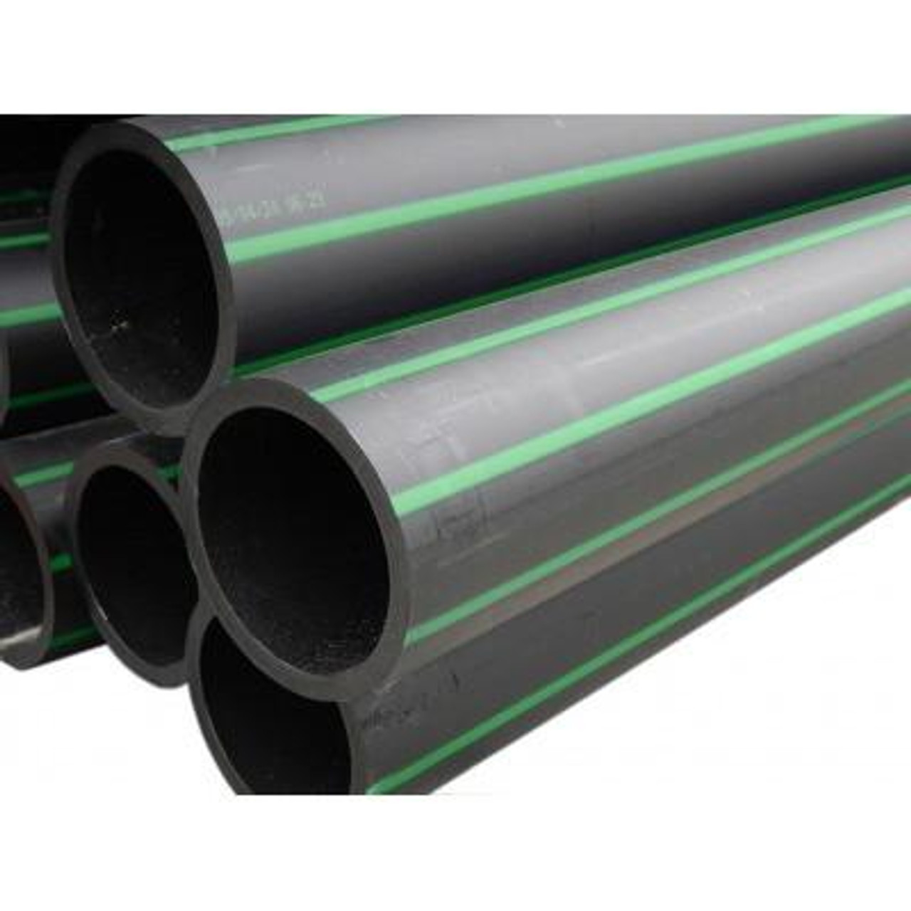 """11/2"""" Rural Green Stripe Poly Pipe x 150m coil - rated to 800 kPa"""