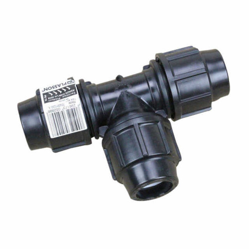25mm Metric Poly Tee - Plasson Metric Poly Pipe