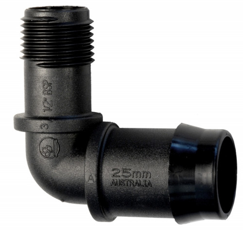 """25mm x 1/2"""" male Elbow"""