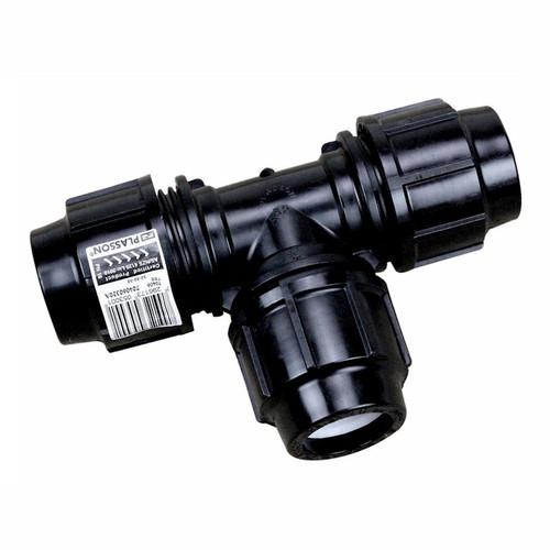 110mm Metric Poly Tee - Plasson Metric Poly Pipe
