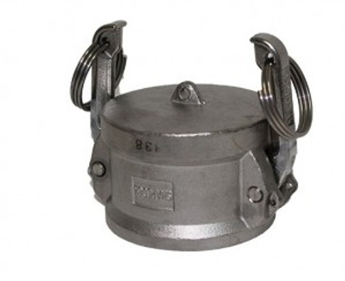 316 S/Steel Camlock 40mm Dust Cap with S/Steel Locking Arms, Rubber Seal and Locking Pins