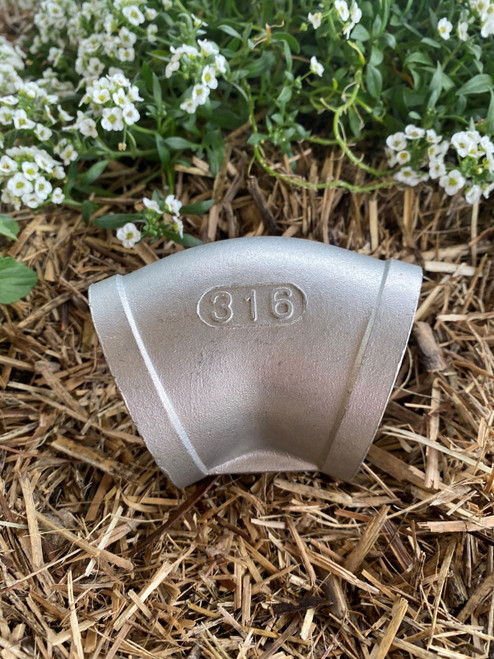 """Elbow, 75mm (3"""") 316 Stainless Steel with BSP Female Threads"""