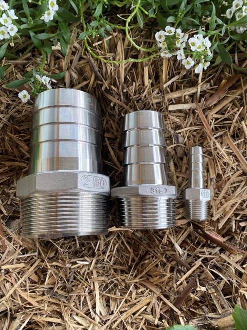 """2 1/2"""" or 65mm 316 Stainless Steel Director / Hose Tail - 2 1/2"""" Male BSP thread x 65mm hose tail"""