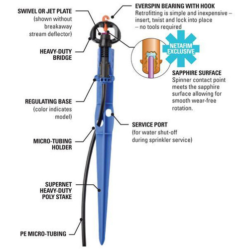 70 L/Hour Netafim SuperNet Pressure Compensated Sprinkler (Long Range Deflector) with Blue Stake and Tube