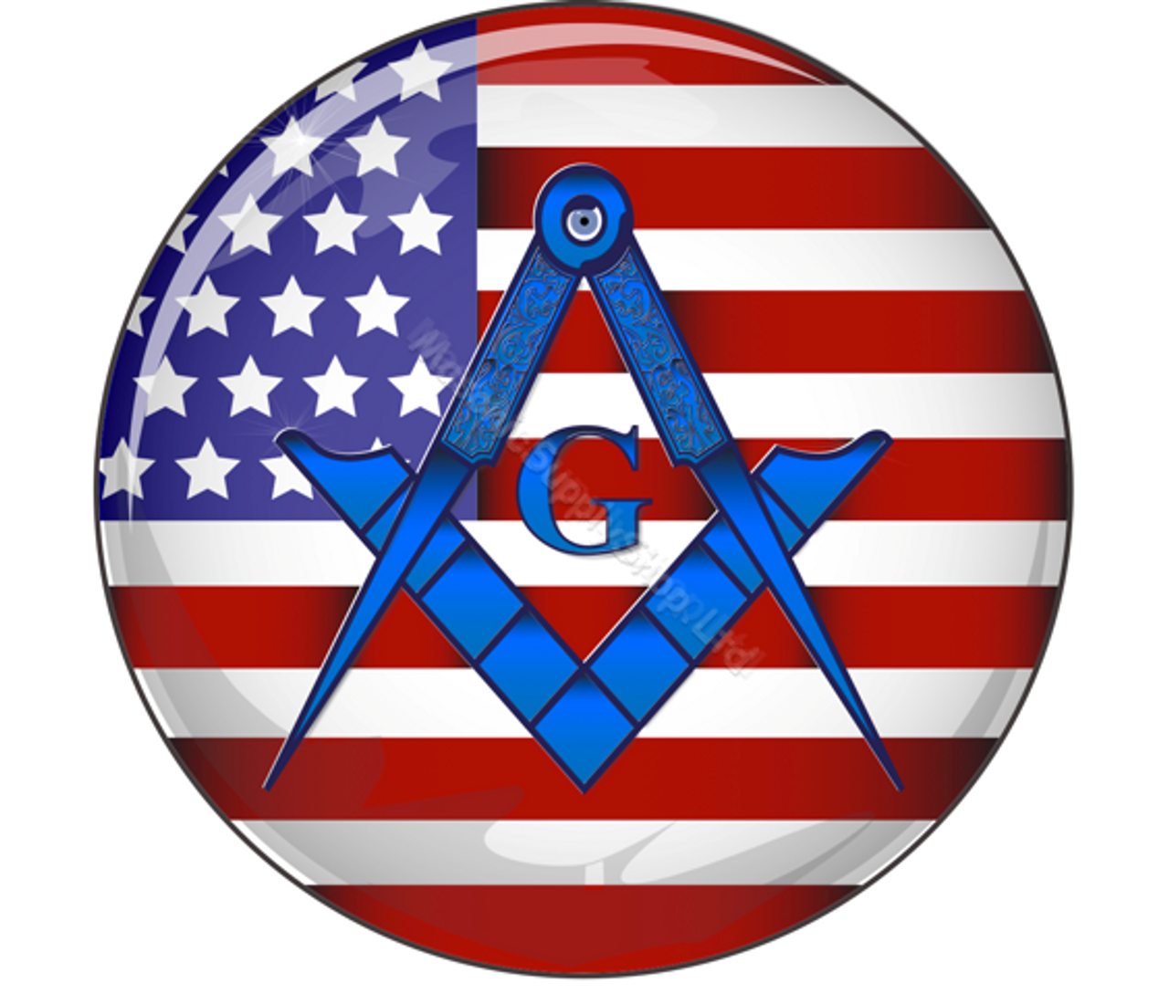 Car Decal Stars and Stripes with Blue Square & Compass with G