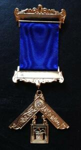 Past Master Breast Jewel-with stone  Royal Blue