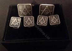 Masonic Cufflink and Stud set   Square   Antique Silver Finish