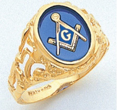 BLUE LODGE GOLD RING.    YOUR CHOICE OF RED, BLUE, OR ONYX STONE.  14 OR 10K GOLD.