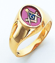 Masonic Gold Signet Ring  Oval face and Red Stone                    style 015