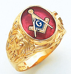 Masonic Gold Ring with Oval face  Red Stone       Style 025