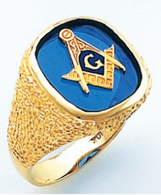 Masonic Gold ring with Blue Stone          ring style 021