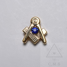 Masonic Square and Compass lapel pin with Blue Stone