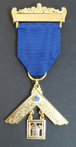 Past Master Breast Jewel   One Bar  Royal Blue  with Stone