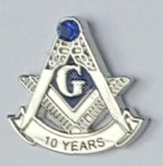 10 year masonic lapel pin