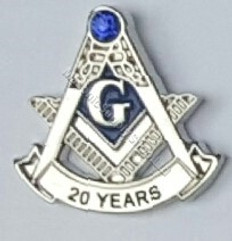Masonic Anniversary  20  Year Lapel Pin