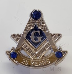 Masonic Anniversary  25  Year Lapel Pin-D
