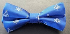 Masonic  Blue Bow Tie with Silver Square and Compass Design