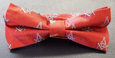 Red Bow Tie with Silver Square and Compass Design