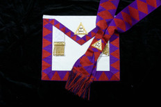 Royal Arch Companion Apron and  Sash Set   Crimson Diamonds
