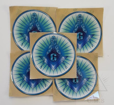 Decal    Blue Square and Compass with Rays    5 pack special