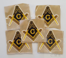 Car Decal  Gold Square & Compass with G    5 pack
