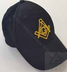 Masonic Baseball Hat Black with Gold Square & Compass  3D