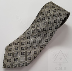 Masonic Tie  Gold with Black Sq& C  design