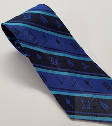 Masonic Tie  Blue Stripped with Working Tool design