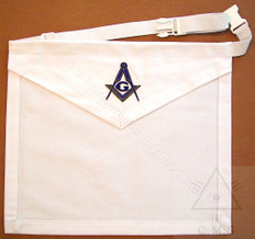 White Cotton Lodge  Apron  with Square & Compass         13 x 15