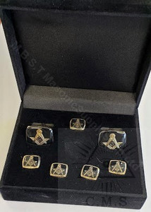 Square Masonic Cuff Links and  5 Shirt Stud set