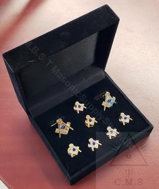 Masonic  Square & Compass  Cuff Link and 5 Shirt Studs plus Matching  Lapel pin